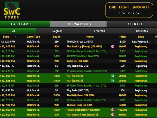 SwC Poker MTT Lobby