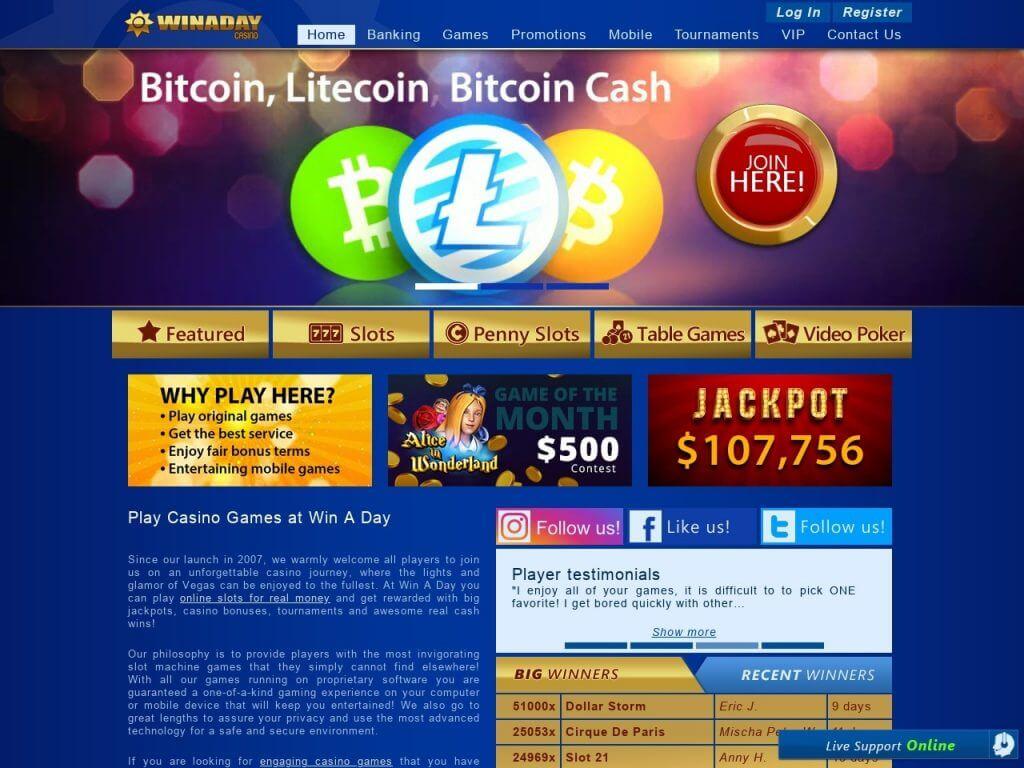 Win A Day Casino Bonus Codes 2021